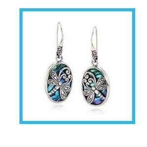 Abalone Shell SilverDragonfly Oval Drop Earrings